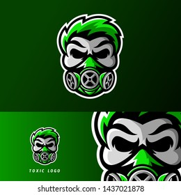 Toxic skull mask sport or esport gaming mascot logo template, for your team, business, and personal branding