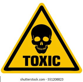 Toxic Skull Triangle Warning Sign, Vector Illustration.