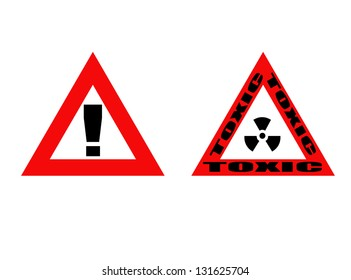 Toxic and warning signs on white, vector illustration