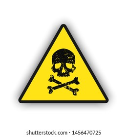 Toxic warning yellow sign icon isolated on white background. Hazard or warning sign with skull and bones, Vector EPS 10 illustration