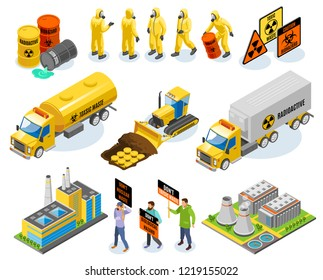 Toxic waste isometric icons with nuclear power plant biological infectious materials transportation disposal environmental activists vector illustration