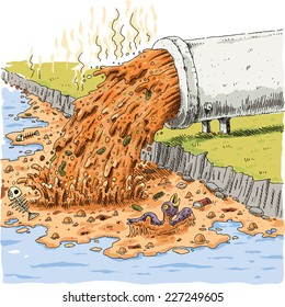 Toxic waste pours into clean, fresh water from a large, cartoon piper.
