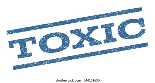 Toxic watermark stamp. Text tag between parallel lines with grunge design style. Rubber seal stamp with dirty texture. Vector cobalt blue color ink imprint on a white background.