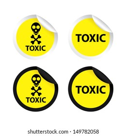 Toxic yellow labels and stickers, isolated on white background