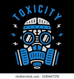 Toxicity. Vector blue respirator. Retro colorful poster. Vintage gas mask. Design for t-shirt.