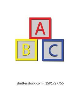 Toy ABC cube simple illustration clip art vector