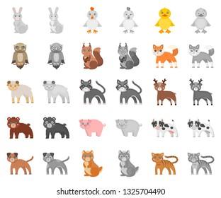 Toy animals cartoon,monochrom icons in set collection for design. Bird, predator and herbivore vector symbol stock web illustration.