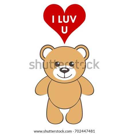 Toy Bear Heart Text Luv U Stock Vector Royalty Free 702447481
