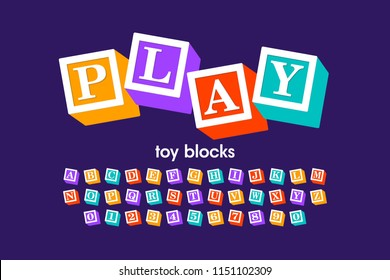 Toy blocks font, alphabet letters and numbers, vector illustration