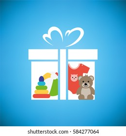 Toy box, with teddy bear, pyramid, ball and baby sliders. Vector illustration.