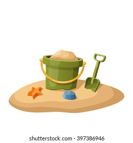 Toy bucket and shovel in sand isolated on white. Vector illustration