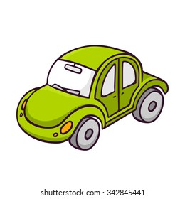 Toy car, bright vector children illustration of cute green toy beetle automobile isolated on white