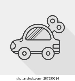 toy car flat icon with long shadow, line icon