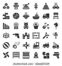 Toy for children and baby icon set, solid icon