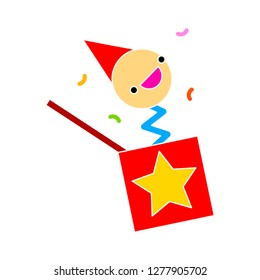 toy clown icon - toy clown isolated, surprize  illustration - Vector gift
