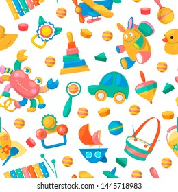 Toy collection for babies seamless pattern vector illustration. Cute objects for small children to play with, wooden and plastic toys, playful animals such as duck, rabbit. Fun and activity.