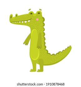 Toy crocodile flat vector illustration. Children s toy, printing on children s educational toys and puzzles. Smiling alligator, green artificial reptile. Cute exotic predator, amphibian, wild animal