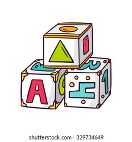 Toy cubes for kids, bright vector children illustration of preschool baby toy for learning letters, shapes, colors and numbers isolated on white