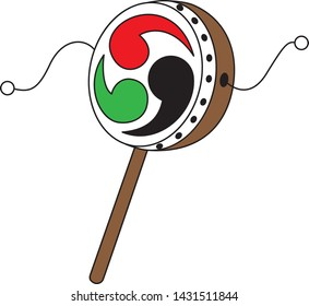 Toy drum (it is traditional Japanese toy for children. They swing right and left to drum it.)