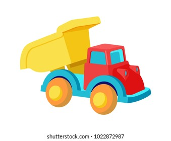 Toy dump truck plastic car in bright colors vector illustration isolated on white background. Heavy automobile for children's play in cartoon design