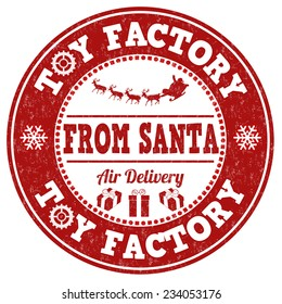 Toy factory from Santa grunge rubber stamp on white background, vector illustration