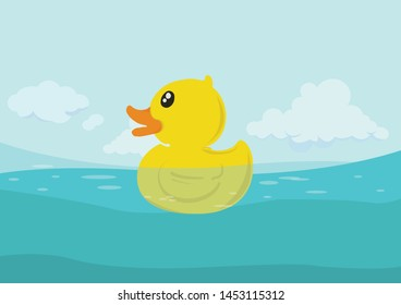 Is a toy floating in the sea in the summer