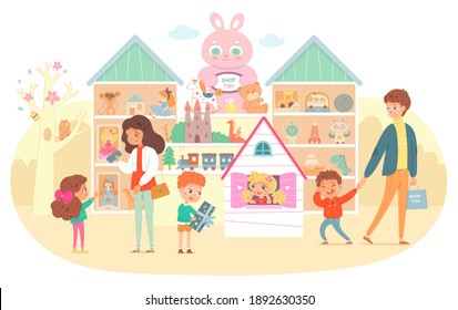 Toy and gift shop for kids. Parents with children buying toys vector illustration. Shelves with dolls, balls, bear, cars, robot, train, castle. Girl in house, boy with gift, boy crying.