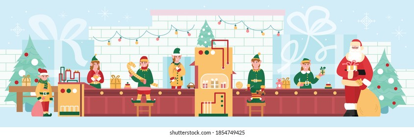 Toy and gifts Christmas factory with cartoon characters of elves and Santa, flat vector illustration. Cute little elves helping Santa on his toy factory.