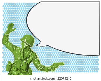 Toy green soldier orders his men to attack