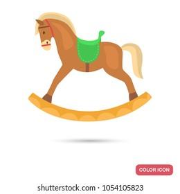 Toy hobbyhorse color flat icon