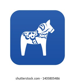 Toy horse icon digital blue for any design isolated on white vector illustration