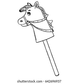 Toy horse on stick. Pony. Hobbyhorse. Ride. Childhood, kids games. Hand drawn isolated graphic sketch for kids room, interior posters, design, advertising, coloring book pages, cards.