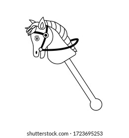 toy horse outline icon. hobby horse sport. horse made wooden of a straight stick with a small horse's head.  flat design cartoon concept. baby toy style. stroke, thin line. vector, illlustation