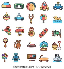 Toy icon collection - vector color illustration