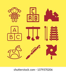 toy icon set with crib mobile, xylophone and piccolo vector illustration