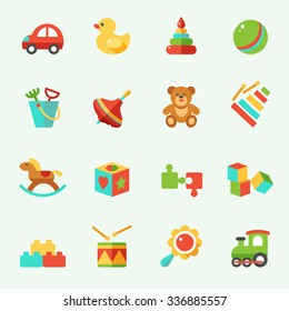 Toy icons, flat design