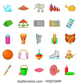 Toy for kid icons set. Cartoon set of 25 toy for kid vector icons for web isolated on white background