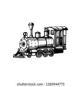 Toy locomotive hand drawn illustration in engraved style. Vector Christmas background for greeting card, poster template.
