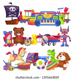 Toy piles. Cute colourful kid toys pile with car, sand pail, child plastic animal bear and dog, doll train for boy and girl vector isolated illustration