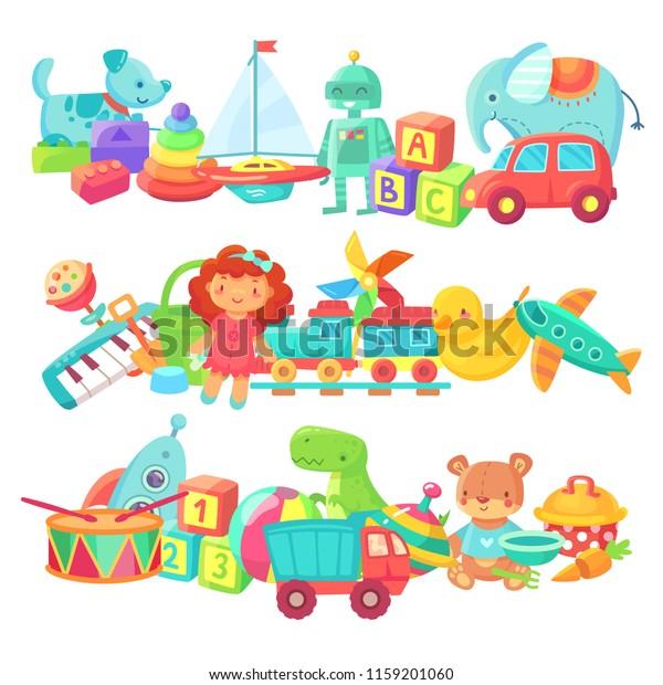 Toy Piles Kids Toys Groups Cartoon Stock Vector (Royalty ...