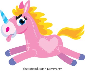 toy pink unicorn with tongue