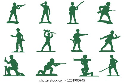 Toy plastic green army men vector soldiers silhouette