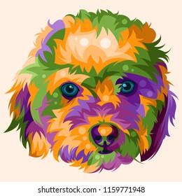 Toy Poodle Pop Art Vector Illustration