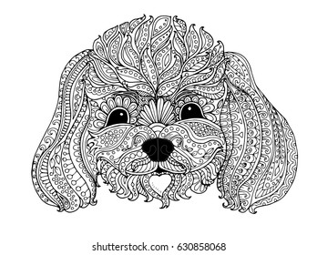 Toy poodle, zentangle design, page for adult colouring book