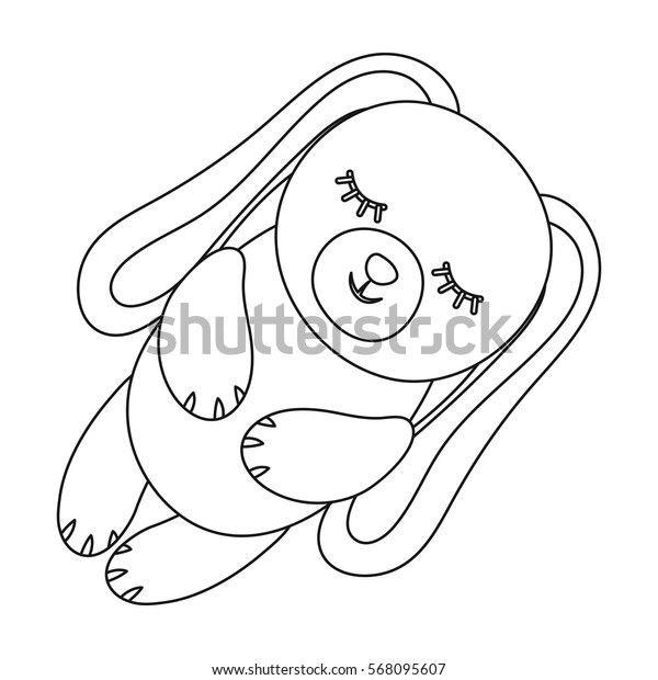 Toy rabbit icon in outline style isolated on white background. Sleep and rest symbol stock vector illustration.