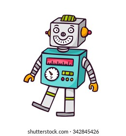Toy robot, bright vector children illustration of cute vintage walking automaton for kids isolated on white
