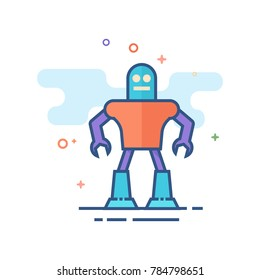 Toy robot icon in outlined flat color style. Vector illustration.