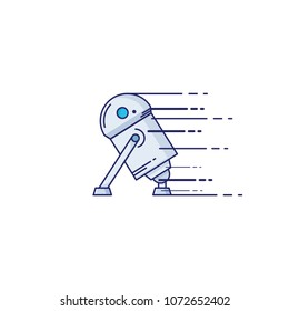 Toy robot icon in thin outline style. Vector illustrations