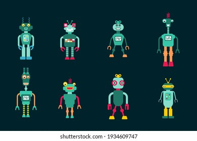 Toy robots isolated vector collection. Retro style cute robot character illustration set. 1980s style.