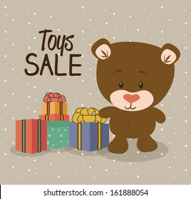 toy sale  design over dotted background vector illustration